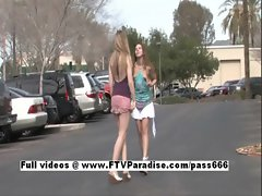 Anna and Amber fun stunning lesbian teenages public flashing