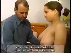 Adult man and a young bitch with big juicy hanging tits pt1