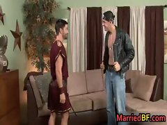 Cute married guy gets his first gay gay porn