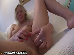 Horny older lady with pierced nipples
