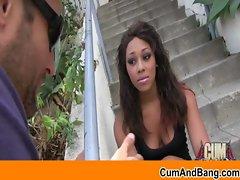 Interracial gangbang - Ebony slut blowing white cocks 25