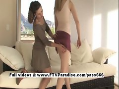 Anna and Amber tender adorable woman lesbians toying
