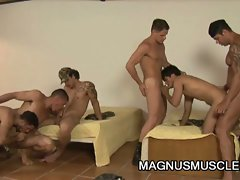 Muscle stud soldiers having group sex