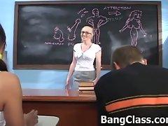 Innocent teacher gets seduced by a student couple