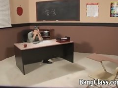 Naughty schoolgirl fucks senior teacher aftr class