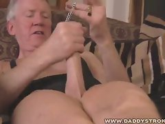 Nasty grandpa solo fetish jerk off
