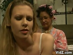 Horny granny seduces a sexy blonde chick