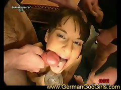 German goo girls gets banged, blow, and covered in cum