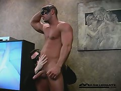 Straight muscular football player gets his hard cock sucked dry