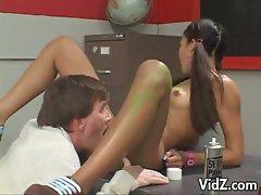 Hot asian teen keeani lei gets pussy fingered by teacher