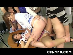 Hot teen schoolgirls in heels fuck teacher cfnm