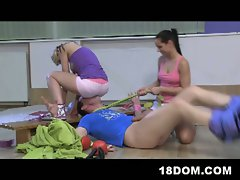 Teen boxers tie down and femdom humiliate referee