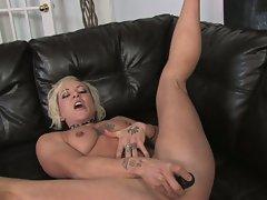Watch this hot blonde milf undress and masturbate in hd