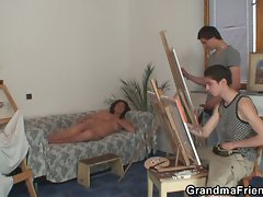 Naughty jizz starving horny granny takes two young dicks