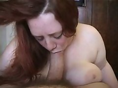redhead BBW sucks cock