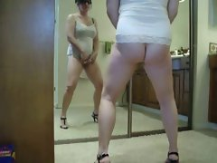 Nice stolen video of my mom masturbating in front of mirror
