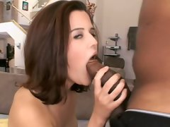 Monster black cock drilling sweet brunette while neighbor peeks