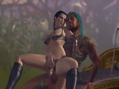 A hot and sexy slut rides a fat dick in an 2d cartoons