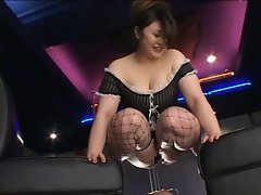 Cute japanese busty maid tries to piss on old man's face