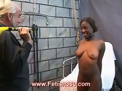 Hot ebony crystal gets punished