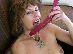 Hot brunette milf masturbation with dildo