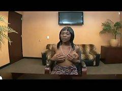 Sweet ebony babe teases cock pov style