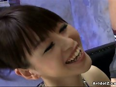 Japanese porstar ai himeno sucks the cocks of three men