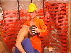 Non-stop milking with horny gay construction workers
