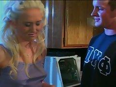 Beautiful college chick gives boyfriend pleaure