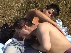 Hot young studs release their spunk out in the great country fields
