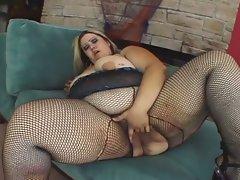 Blonde bbw sucks his cock and bends over to get porked
