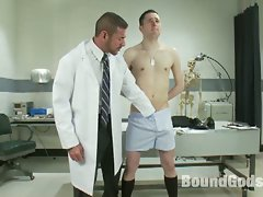 Nasty gay doctor tortures bound twink