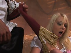 Lovely spunk hungry blonde surrenders to horny pirate