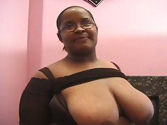 Bbbw ebony busty rammed hard by two dicks and facial by cum