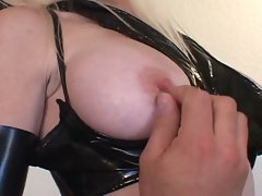 Blonde with nice boobs in latex does hardcore sucking and fucking