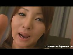 Naked asian babe gets splashed with cum