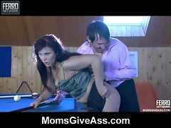 Big tits brunette mom fucked on top of billiards table