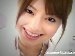 Glamorous asian beauty akiho yoshizawa changes costumes