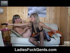 Horny guy fucked by crazy girl with huge strapon cock