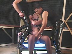 Horny hunks in latex taking blonde in double fuck