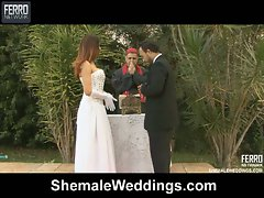 Outdoor ass wrecking with shemale after wedding
