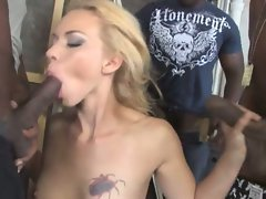 Sexy young blonde gets gang-banged in this video