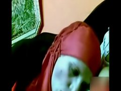 arab girl with red hijab sucking dick