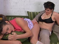 Sizzling hot chick makes a salacious milf ready for lez strap-on...