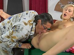 Young cutie gets undressed for hot fucking experience with an older...