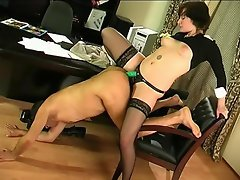 Horny secretary revealing her strap-on fucking skills having sex with...