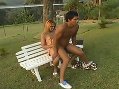 Lascivious shemale massaging guy's tight ass outdoors after hot...