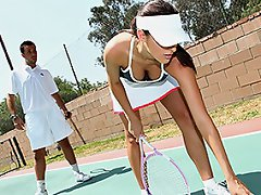 Kortney is training for the Tennis tournament final, she's waiting...