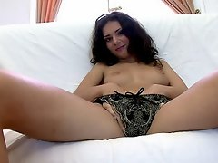 Shameless brunette Russian whore Sonya getting fucked by two giant...