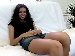 Ravishing brunette Russian hottie Sonya gives blowjob and gets pussy...